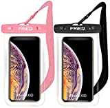 "Wireless : FRiEQ Waterproof Case 2 Pack for iPhone 11 / iPhone 11 Pro Max Xs Max XR XS X 8 7 6S Plus, Samsung Galaxy S10 S10e S9 S8 +/Note 9 8, Pixel 3 2 XL HTC LG Sony Moto up to 6.5"" (Black and Pink)"
