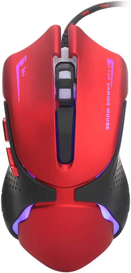 Color : Red Gaming Mouse Ergonomic Optical Touch Computer Laser Mouse USB Cable Professional E-Sports Game Console Mouse Fast Scrolling