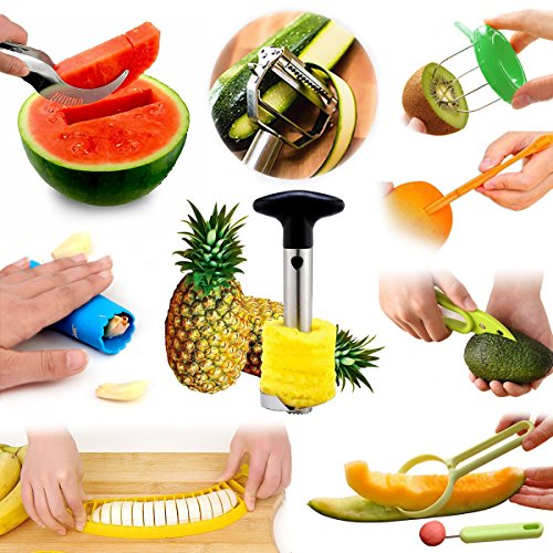 Fruit Slicer Peeler All-In-One Set, Pineapple Corer, Orange Citrus Lemon Garlic Kiwi Cantaloupe Vegetable Peeler, Avocado Watermelon Banana Slicer, Kitchen Tools Value Pack