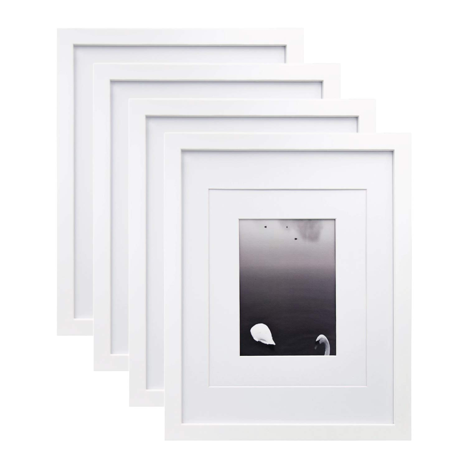 Egofine 11x14 Picture Frames 4 PCS White - Made of Solid Wood for Table Top and Wall Mounting for Pictures 8x10/5x7 with Mat Horizontally or Vertically Display Photo Frame White by Egofine