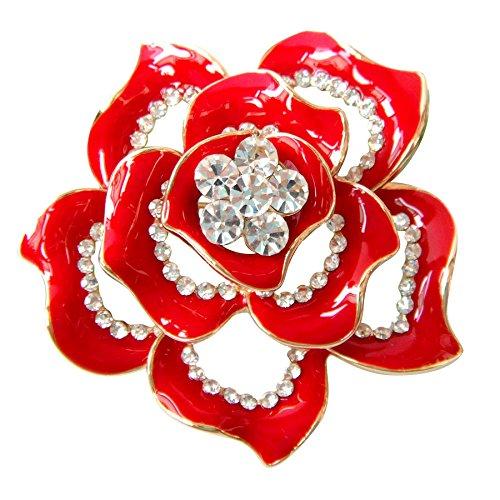Navachi 18k Gold Plated Crystal Red Enamel Rose Flower Az7445b Brooch pins