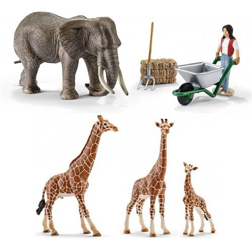LARGE SCHLEICH African Wildlife Set of 7 Big Toy Figures, Durable, Includes Retired 41409 Boxed Elephant Care Set and Giraffe Family of 3 Durable and Realistic