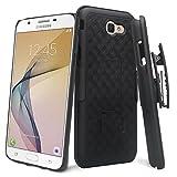 GALAXY WIRELESS Compatible For Samsung Galaxy J7v Case/J7 (2017) Case/J7 Prime Case/J7 Perx Case/J7 Sky Pro Case,Galaxy Halo Swivel Slim Belt Clip Holster Protective Case Cover [Kickstand] - Black