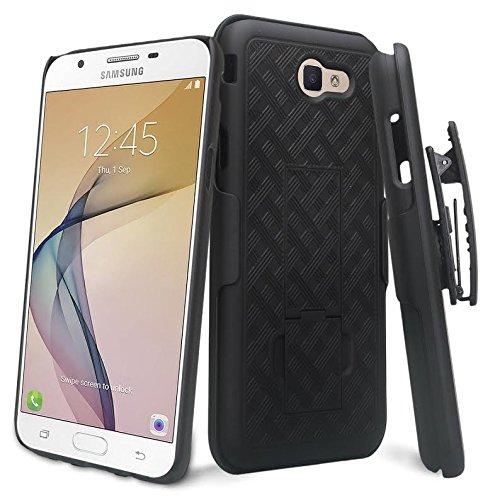 GALAXY WIRELESS Compatible For Samsung Galaxy J7v Case/J7 (2017) Case/J7 Prime Case/J7 Perx Case/J7 Sky Pro Case,Galaxy Halo Swivel Slim Belt Clip Holster Protective Case Cover [Kickstand] - Black (Black Case Swivel Holster)