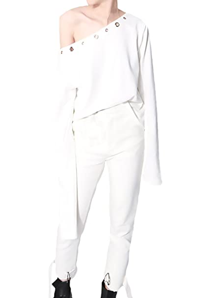 Battercake Mujer Manga Larga Elegantes Basicas Un Hombro T Shirt Otoño Moda Casual Hipster Suelto Camisas