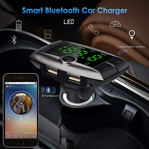 Jonerytime❤️Bluetooth in-Car MP3 FM Wireless Transmitter Dual USB LCD Charger Kit HandsfreeWireless Bluetooth FM Transmitter Modulator Car Kit MP3 Player Dual USB Charger White by Jonerytime_ Home & Garden (Image #4)