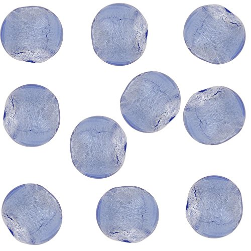 Light Blue Round 6mm Silver Foil Murano Glass Bead .925 Silver Foil, 10 Pieces