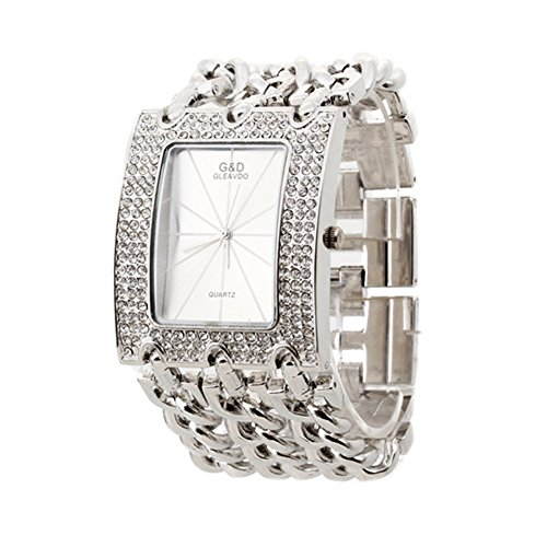 FACILLA Women Quartz Wristwatch Bracelet Silver Chain Rhinestone Rectangle Dial
