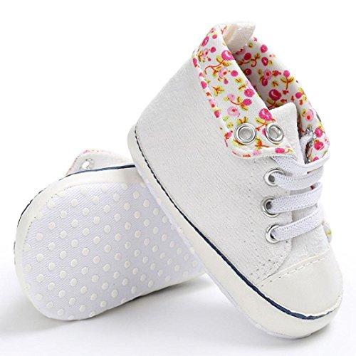 BZLine® Baby Jungen Schuhe Sneaker Anti-Rutsch weiche Leinwand Sohle Kleinkind Schuhe Weiß