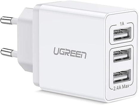 UGREEN Chargeur Secteur USB 3 Ports Chargeur Mural USB Multiple Compatible avec iPad iPhone, Samrtphones Samsung Xiaomi LG HTC