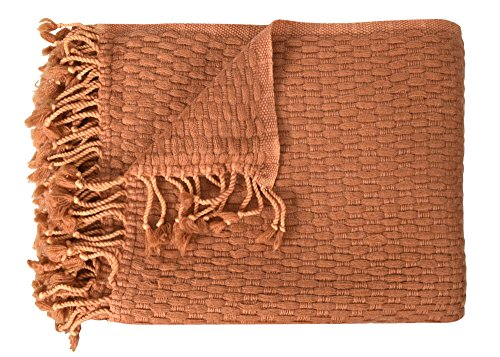 Peach Couture B1328-Basketweave-Throw-Tan-OS Couture Home Collection Cashmere Wool Lightweight Warm and Luxurious Basket Weave Throw with Tassels, Tan