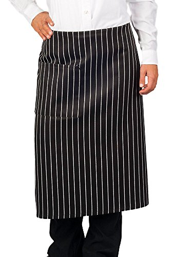 (KNG Pack Of 6 - Chalk Stripe Full Bistro Apron, 30 Inch)