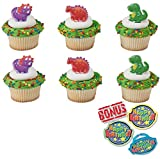 Bundle of Fun Dino Pals Dinosaur Rings Cupcake Toppers and Bonus Birthday Ring - 25 piece