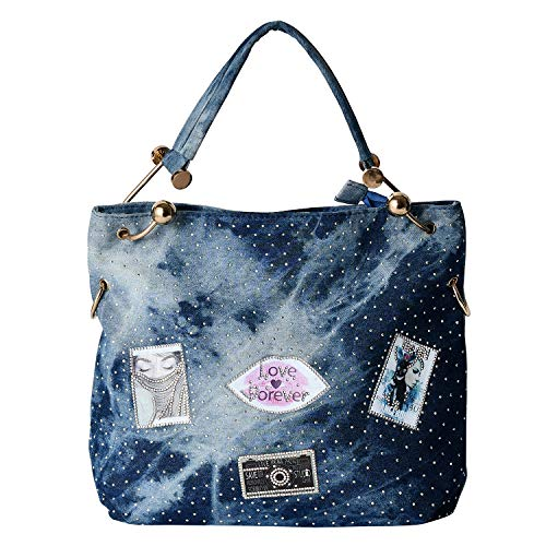Blue Jean Birkin - New crossbody bag blue fabric bag has lots of glass diamonds and retro style patterned handbags shoulder bags bulky bags party birthday presents for ladies