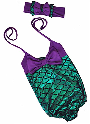 [Little Girls One-Piece Mermaid Fish Scale Bikini with Headband Princess Swimming Suit (2-3 years,] (Cute Kiddie Costumes)