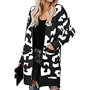BTFBM Women Long Sleeve Open Front Leopard Knit Long Cardigan Casual Print Knitted Maxi Sweater Coat Outwear with…