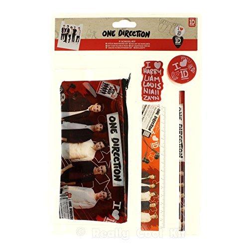 One Direction School Kit 5 Piece Case Pencil Rubber Set -