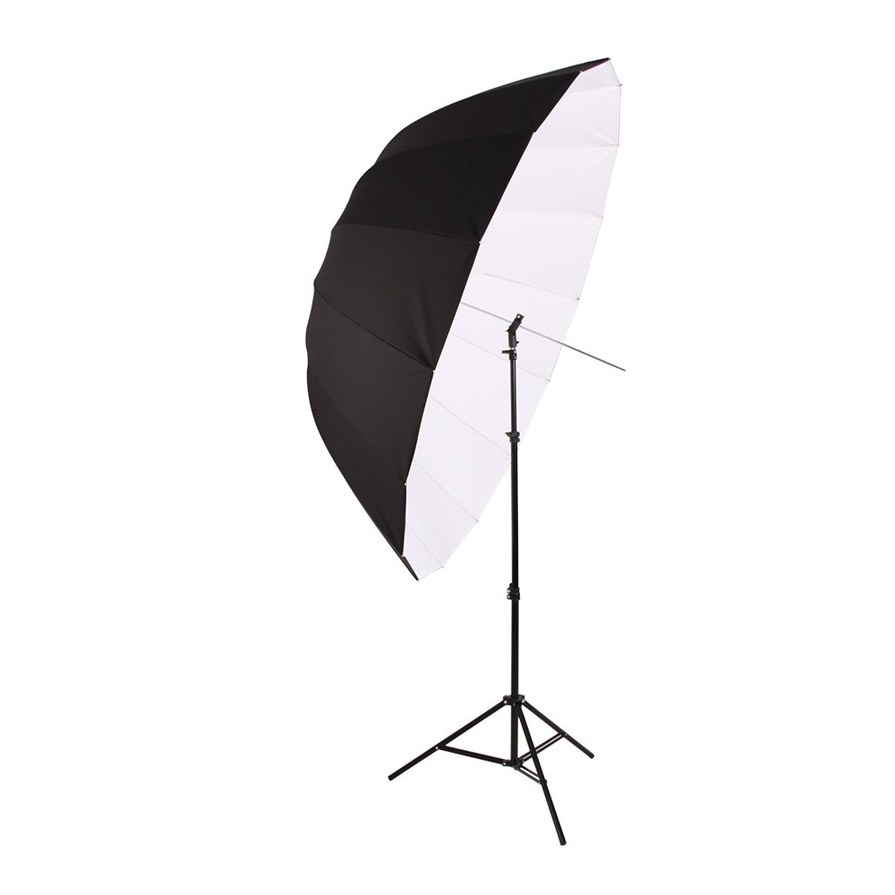 FOTOCREAT 65''(165cm) Parabolic Umbrella -Professional White with Black Umbrella Reflector for Strobe Speedlight