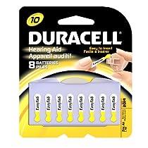 Duracell 1.4 Volt Zinc Air Hearing Aid Batteries Size 10 DA10B8 (8 Batteries)