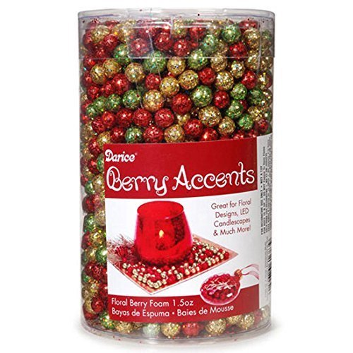 Berry Accents - Floral Berry Foam - Glitter Christmas Asst - 7 to 9mm - 1.5 - Floral Christmas