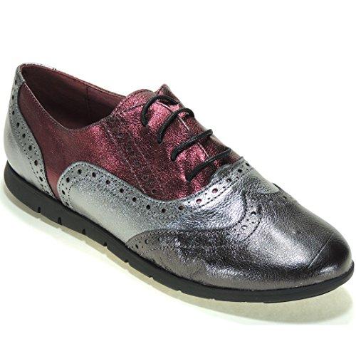 para Abril de Oxford Goma 10025AB Piso Burdeos Zapato con Mujer Modelo YIqrUwY