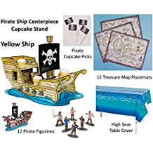 Pirate Birthday Party Table Supplies (Pirate Ship Centerpiece Cupcake Holder Stand, Ocean Table Cover, 12 Treasure Map Decoration Placemats, 12 Pirate Figurines, 36 Cupcake Toppers Pirate Picks)