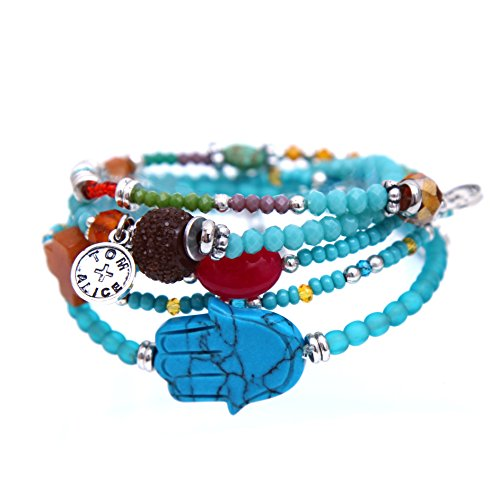 - tom+alice Beaded Bracelets for Women Stackable Handcut Natural Stones 5 pcs Ermish Stretch Set Bangle