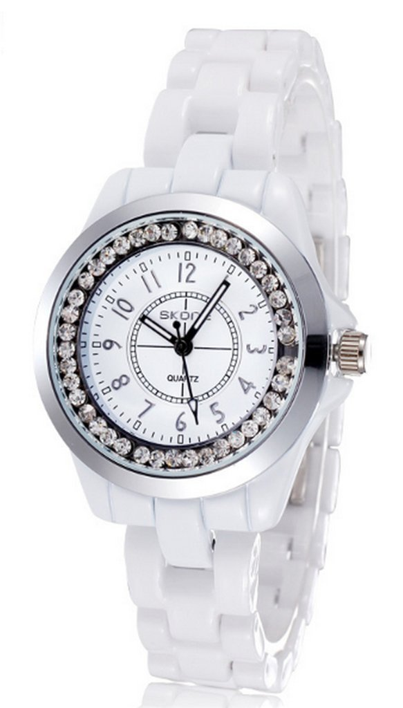 WUTONYU(TM) Women's White Ceramic Band Wrist Watch Luminous Rhinestones Quartz Watches(Silver) by WUTONYU (Image #1)