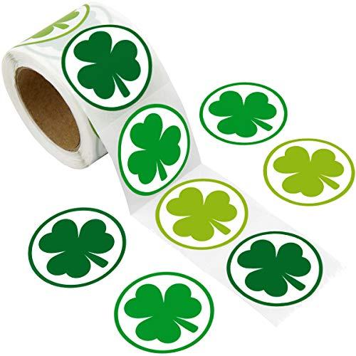 ceiba tree St. Patricks Day Shamrock Stickers 3 Green Colors for School/ Party/ Parade 200 Pcs 1 1/2