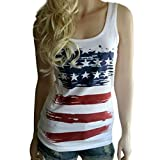 Axchongery Women T-Shirt Sexy USA Flag Camisole Striped Printed Vest Racer Back Blouse (White, M)