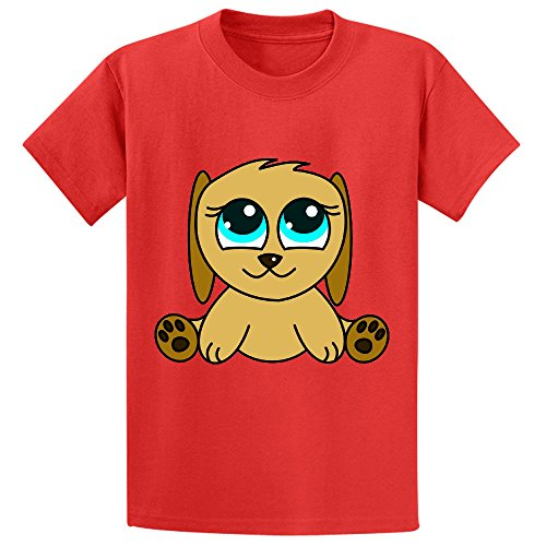 f Cartoon Puppies Pitbull Chirldren Design Cotton T Shirts Red (Old Spice T-shirt)