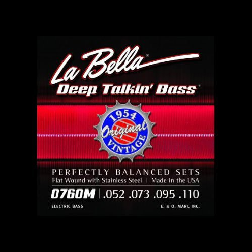 La Bella 0760M Original 1954 Flat Wound Stainless Steel 52-110, Perfectly Balanced Sets, Heavy Tension - Perfect for Professional Bass ()
