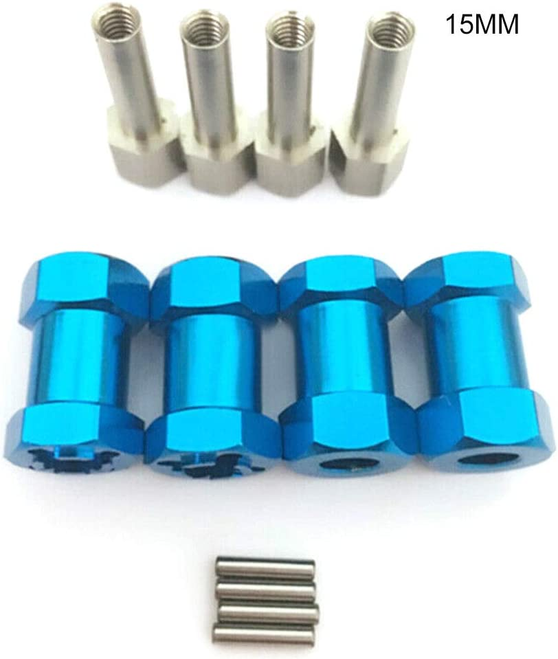 Crewell Azul 15 mm Adaptador de Eje Hexagonal para Crawler D90 AX10 CC01 SCX10 RC Adaptador de extensi/ón de buje Hexagonal para Rueda de Coche