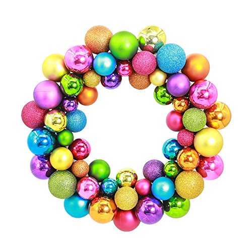 Wreath Christmas Tree Ornament - Aimeart Glittery Christmas Balls Wreath Garland Ornaments Christmas Tree Orbs Mardi Gras Balls Arcades Small Decorations for Wedding Party or Anniversary; 3 special finishes: Shiny, Matte, Glitter