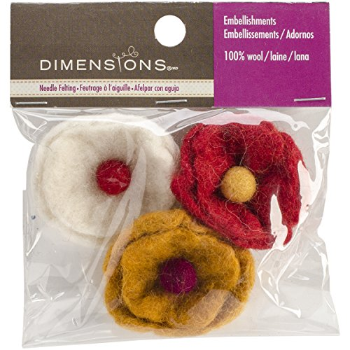Dimensions Crafts 72-74028 Wool Cup Flowers for Needle Felting, Small