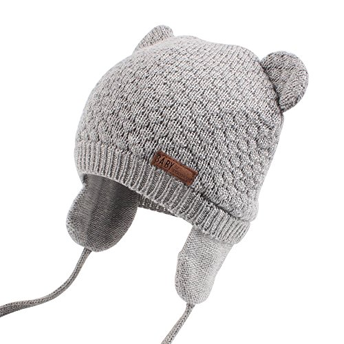 Cutegogo Baby Infant Earflap Beanie Hat Toddler Boys Girls Winter Warm Crochet Cap 0-24Months (Gray, (Knit Earflap Hat)