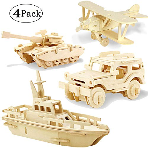 3D Wooden Puzzle Toy, Mini Ship, Tank, Jeep, Plane Model Kit, Creative Assembled Education Puzzle Toys Gifts for Children Kids (B)