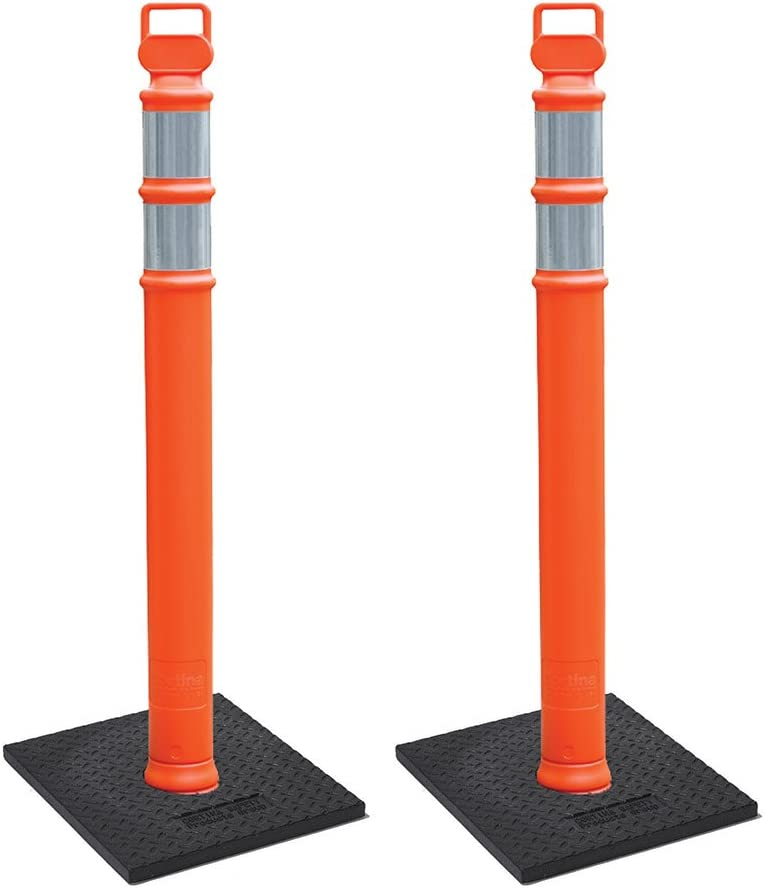 "Cortina EZ Grab Delineator 45"" Post, 3"" Hip Collars with 10 lb Base, 03-747RBC-2, Orange, 2 Pack"