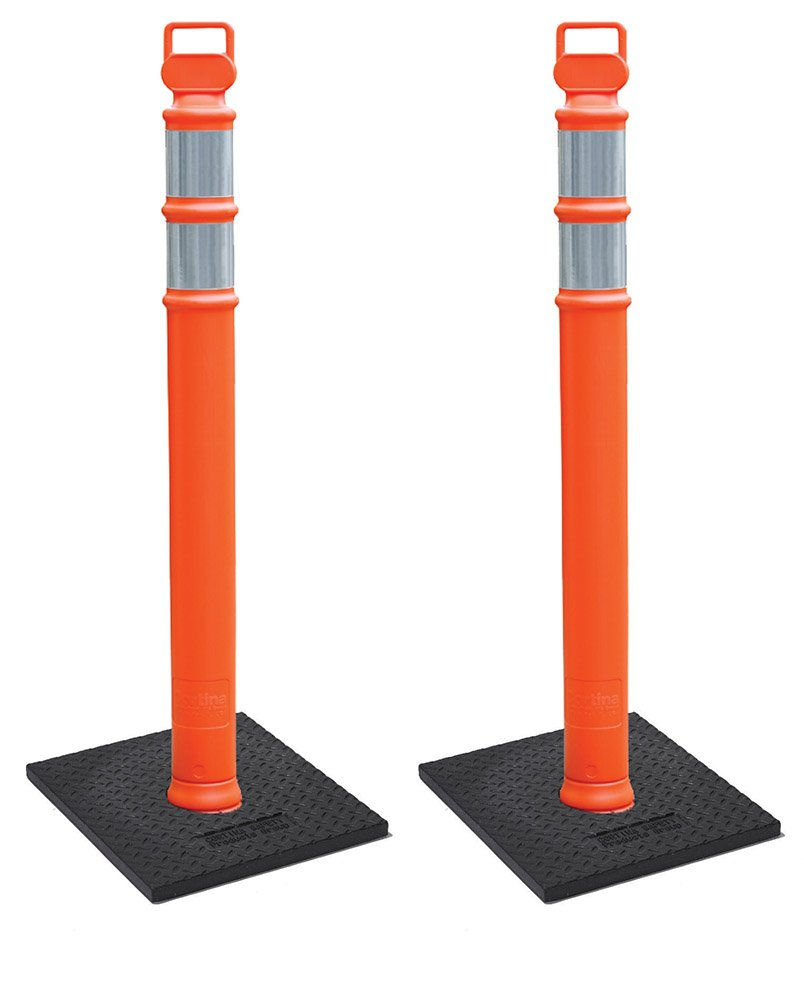 Cortina EZ Grab Delineator 45'' Post, 3'' Hip Collars with 10 lb Base, 03-747RBC-2, Orange, 2 Pack by Cortina