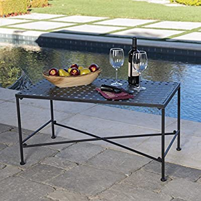 Christopher Knight Home Kent Outdoor Black Iron Coffee Table - You can pair the Christopher Knight Home petra Table with almost any set of chairs, or loveseats This Table is sure to last you for years to come with its weather resistant powder coated iron construction Manufactured in China - patio-tables, patio-furniture, patio - 51iqmfsyuLL. SS400  -