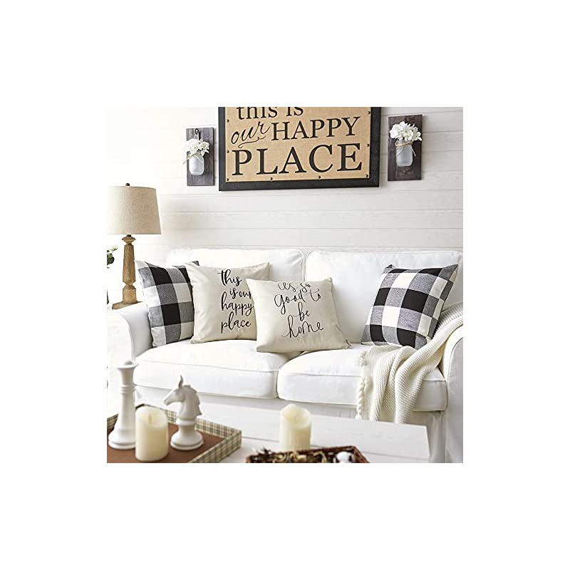 """Meekio Farmhouse Pillow Covers with It's So Good to Be Home Quotes 18"""" x 18"""" Farmhouse Decor Housewarming Gifts"""
