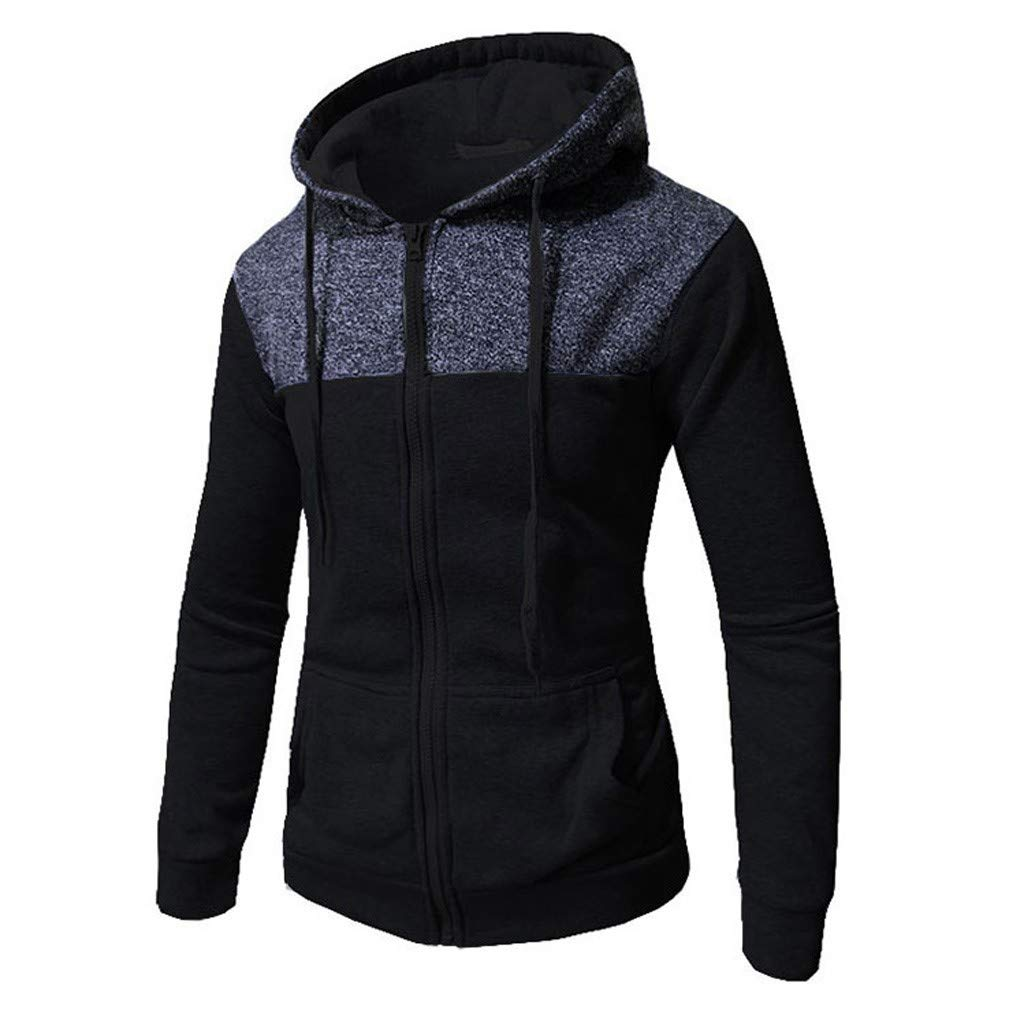 WUAI-Men Lightweight Jackets Casual Athletic Fit Full Zip Hooded Sweatshirt Tops(Navy,US Size 2XL = Tag 3XL) by WUAI-Men