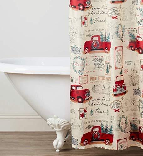 Winter Wonder Lane Retro Truck Shower Curtain with Christmas Tree Hooks Set