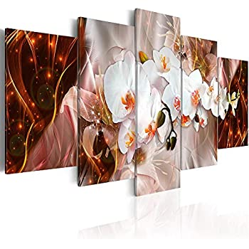 Canvas_Art_Design_2015 White Floral Canvas Print Wall Art Floral Orchid Painting Artwork Bedroom Living Room Office Decor 5 Panels (B,Over Size 60inch x 30inch)