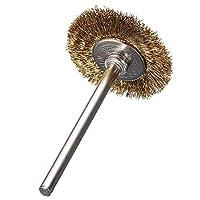 SODIAL(R) 10 x Brass Wire Brush Round Brushes Disc Brush Pot Brush for Dremel 25MM