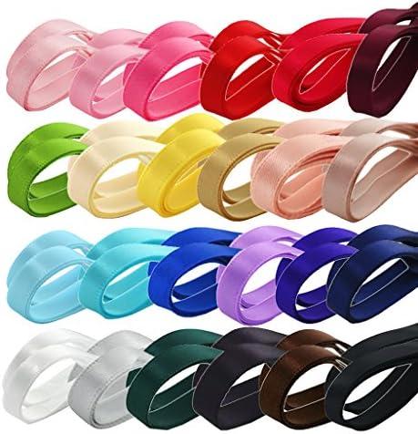 手芸用品 DIY ハンド 両面リボン 祭り装飾用具 多色 ダブルサテンリボン 24本セット6mm