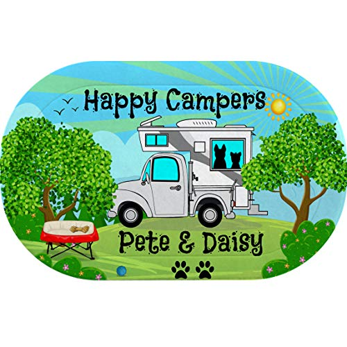 Personalized Happy Camper Pet Placemat with Truck and Camper, 14