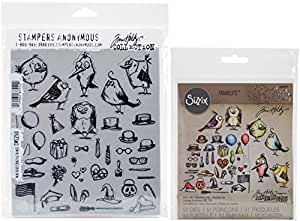 Tim Holtz Mini Bird Crazy & Things Cling Rubber Stamps and Sizzix Thinlits Dies Bundle (Set of 2 Items)