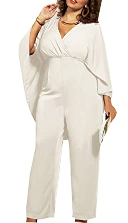 Popbop Womens Cape Sleeve Loose Chiffon Plus Size Jumpsuit Romper