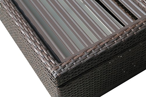 PATIOROMA Outdoor Patio Aluminum Frame Wicker Cushion Storage Ottoman Bench with Seat Cushion, Espresso Brown by PATIOROMA (Image #4)